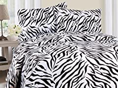 Lavish Home Sheet Set - Zebra - 3 Sizes