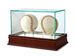 Double Baseball Glass Display Case