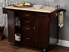 Cottage Country Cart White/Espresso