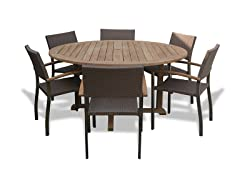 60-Inch Table, 6 Bronze Armchairs