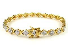 Gold Plated SS Diamond Accent XOXO Link Bracelet