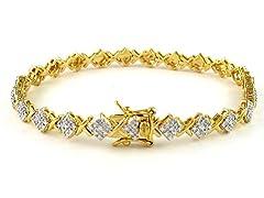 Gold Plated SS Diamond Accent XOXO Link Bracelet