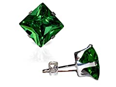 CZ Square Emerald Earrings