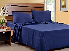 Microfiber Sheet Set-Set of 2-Navy-4 Sizes