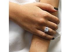 Cushion Cut Crystal Halo Ring