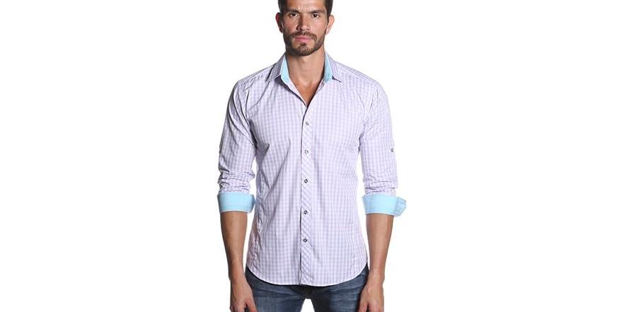 White lilac check men 39 s dress shirt for Mens lilac dress shirt