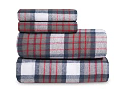 Grey Plaid Flannel Sheet Set-3 Sizes