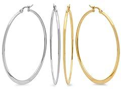 2-Pack 18kt Gold Plated Hoop Earrings