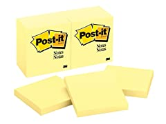 Post-it Notes3 in x 3 in, Canary Yellow, 12 Pads