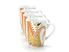 Paisley Mugs 11oz 4-pc