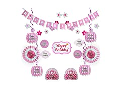 Pink Happy Birthday Party Decorations