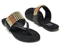 Iris Beaded Sandals, Black