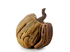 "9"" Wooden-Look Pumpkin"