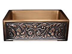 Undermount Copper Flower Apron Sink
