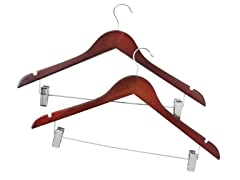 Wooden Hanger with Clips Mahogany 2-pc