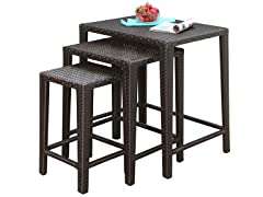 William Outdoor Wicker 3 Piece Tea Table Set