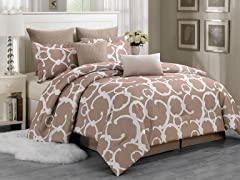 Rhys Hotel 8 Piece Quilted Comforter Set- 2 Sizes