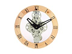 Moving Gear Wall Clock - Gear Style 333 Wooden Bezel