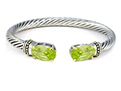 Regal Jewelry 18K Gold-Plated Simulated Diamond Bangle Peridot Color