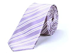 Silk Tie, Light Purple w/ White Stripe