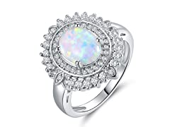 Oval-Cut Opal Ring With Austrian Crystal
