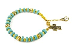 Genuine Turquoise Yellow Bead Cross Charm Bracelet