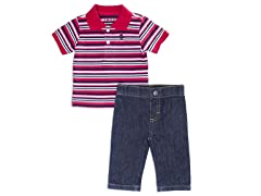 Red Denim 2pc Polo S/S Set (3-24M)