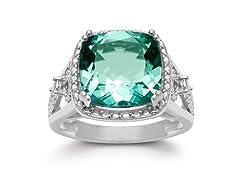 5 Carat Cushion Cut Halo Style Green Amethyst Ring- Pick Size