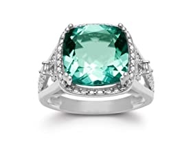 5 Carat Cushion Cut Halo Style Green Amethyst Ring- Pick Size