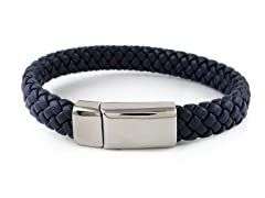 Thick Braided Leather Bracelet, Navy