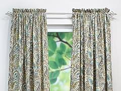 Paisley Rod Pocket Curtain Panel - Chocolate - 3 Lengths
