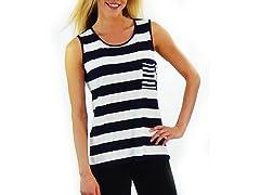 Women's Sleeveless Shirt, Navy and White Stripes