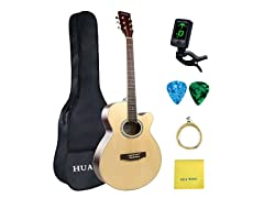 Music Acoustic Guitar 40 inch Basswood Cutaway