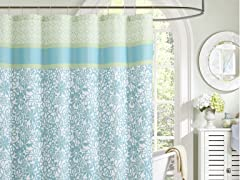 Embossed Shower Curtain - Emerson Blue/Lime