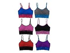 6Pk Contrast Color Lace Bralettes