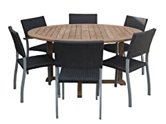 60-Inch Table, 6 Silver Sidechairs