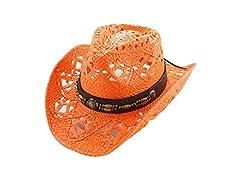 Straw Cowboy Hat W/Vegan Leather