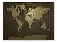 Gold World Map Canvas Art