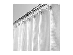 mDesign Long Fabric Shower Curtain