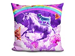 Rainbow Pug Riding A Unicorn Pillow