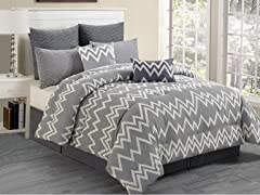 Devlin Flocking 8Pc Comforter Set-Grey-2 Sizes