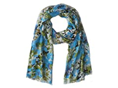 Kitara  Bright Floral Scarf Turquoise