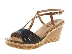 Carrini Wedge Sandal, Black/Tan