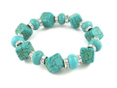 Genuine Turquoise Crystal Stretch Bracelet