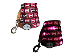 Dog-e-Glow Pink Bones LED Lighted Leash 6'