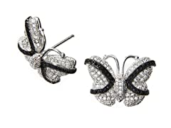 18kt Plated Black/White CZ Earrings