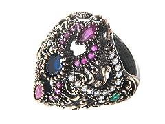 SS Heart Dyed Emerald, Ruby & Sapphire Genuine Semi-Precious Gemstone CZ Ring