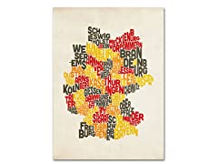 Germany Region Text Map' Canvas Art- 2 Sizes