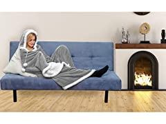 Reversible Hooded Sherpa Throw Blankets
