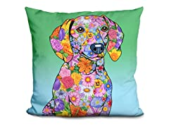 Dachshund Flower Pillow